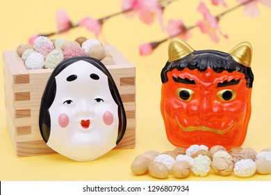 Japanese traditional event, soybean snacks and mask of demon are used on an annual event /Setsubun.