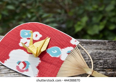 Japanese traditional fan and origami