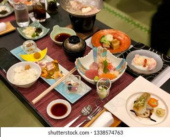 Japanese traditional food Kaiseki dinner set