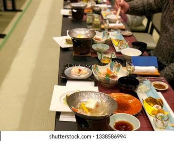 Japanese traditional food Kaiseki set in Ryokan, Japanese style hotel