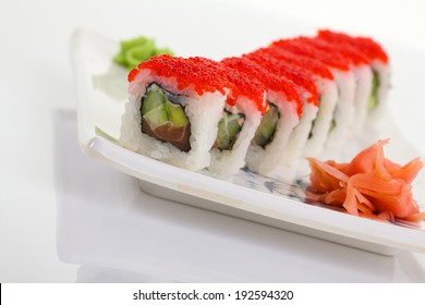 Japanese traditional food: sushi, nigiri (isolated on white background)