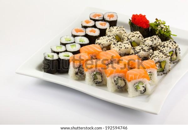 Japanese Traditional Food Sushi Nigiri Isolated Stock Photo