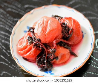 Japanese traditional food.Umeboshi.