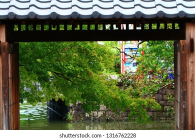 The Japanese traditional gate of the waterway