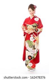 japanese traditional kimono woman on white background