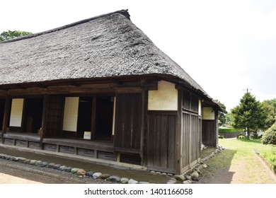 Japanese traditional old folk house / Thatched roofs and inside the house.