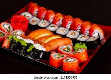 Japanese traditional roll and sushi set