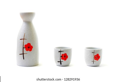 japanese traditional sake cup and bottle , sake is a japanese liquor made from fermented rice.