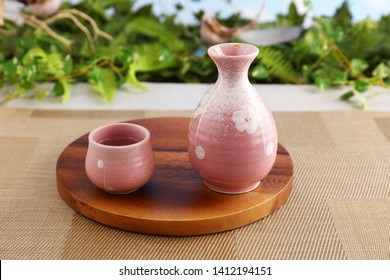 Japanese traditional sake on the dining table.