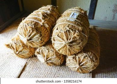 Japanese traditional straw rice bag, Niigata, japan