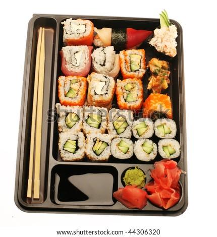Japanese Traditional Sushi Isolated On White Stock Photo