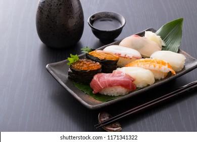 Japanese traditional sushi and sake