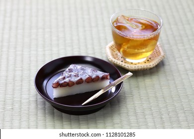 japanese traditional sweet dessert served with barley tea, wagashi and mugicha