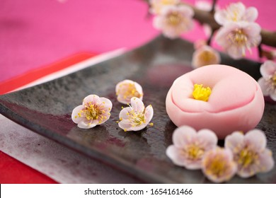 "Japanese traditional sweet ""Nerikiri"" of shape of a plum flower (made from beans"
