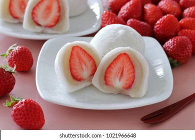 Japanese traditional sweets, Strawberry Daifuku with fresh strawberries