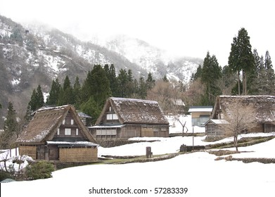 Japanese traditional thatch roof houses, Ainokura World Heritage Site.