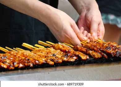 japanese traditional yakitori, chicken grilled as the famous street food of japan