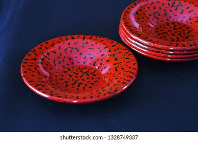 """Japanese traditipnal crafts.""""Tsugaru lacquering"""" / Lacquered teacup saucers."""