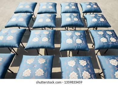 Japanese traditonal floor cushion drying in the sun