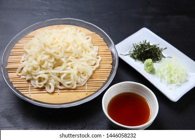 Japanese udon noodles INANIWA-UDON on a dining table