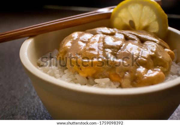 japanese urchin on rice close up angle uni don