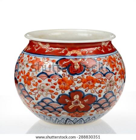 Japanese Vase Handpainted Flower Fan Decoration Stock Photo Edit