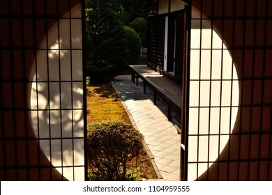 Japanese veranda (Engawa) seen from sliding door at a local old house in Kyoto, Japan