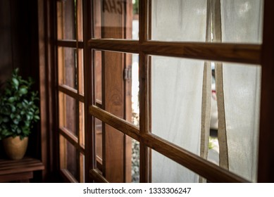 Japanese window style room made from wood