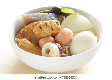 Japanese winter street food, Oden simmered fish cake and radish with egg and Kombu