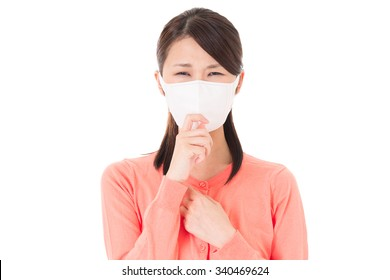 Japanese woman caught a cold.