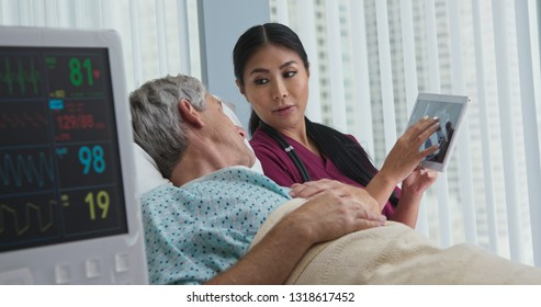 Japanese woman doctor explaining brain scans to senior Caucasian male patient in hospital bed. Female medical professional showing medical imaging to older man on tablet computer