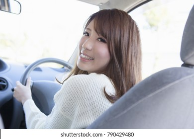 Japanese woman to drive a car