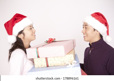 Japanese woman getting a present from her boyfriend