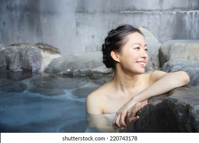japanese woman in hot spring.