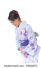 Japanese woman in Kimono, isolated on white background