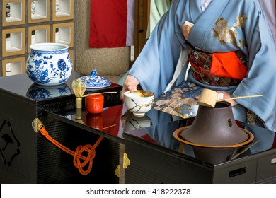 Japanese woman in kimono is preparing green tea which call the Japanese tea ceremony.