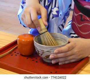 A japanese woman shows the tea ceremony
