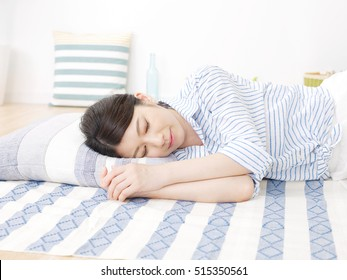 Japanese woman sleeping in the room