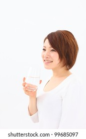 Japanese woman wearing a bathrobe