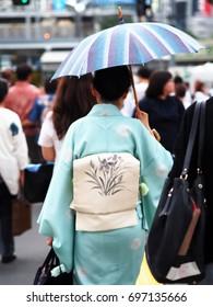 Japanese woman wearing a yukata in the summer.