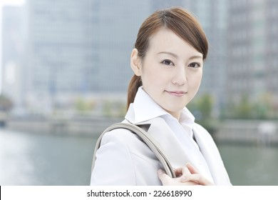 Japanese woman working in the business district