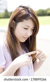 Japanese women feeling sorry for oneself facedown