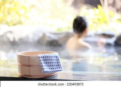 Japanese women relaxing in the hot springs.