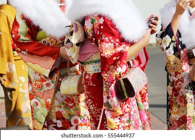 Japanese women wearing traditional Kimono