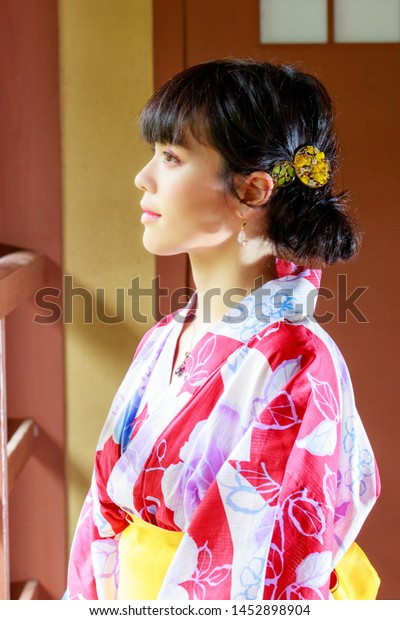 Japanese Women Wearing Yukata Stock Photo Edit Now 1452898904