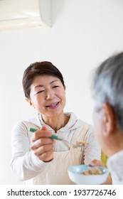 Japanese women who assist at home and eat