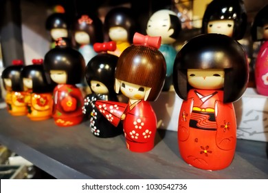 Japanese wooden kokeshi dolls in Kimono suit, which are a toy for girls and boys, or even for a decoration, have been sold in souvenir shop in Japan.