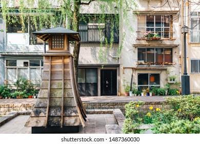 Japanese wooden lantern and town in Kochi, Shikoku, Japan