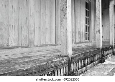 Japanese wooden patio. This image was blurred or selective focus. Black and white picture.