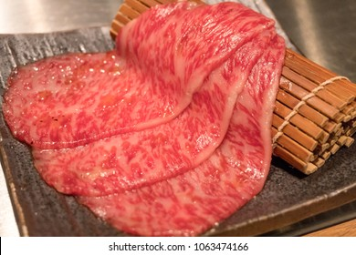 Japanese Yakiniku Beef raw beef thick slice steak.